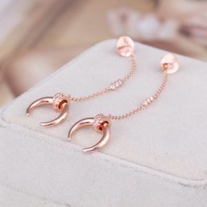 Henri Bendel Meniscus Shape Rose Gold Earrings